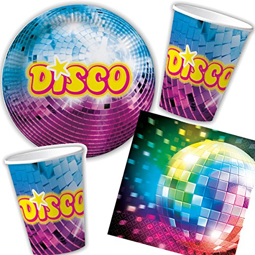 DH-Konzept/Carpeta 33-teiliges Party-Set * Disco * für Kindergeburtstag mit Teller + Becher + Servietten + Deko // Partygeschirr Kinder Geburtstag Party Mottoparty Motto