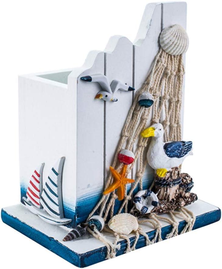 ARTIBETTER Nautical Pen Holder Cup Seagull Fi Ocean Theme Wooden Superlatite Ranking TOP3