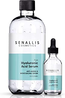 Hyaluronic Acid Serum 8 fl oz And 2 fl oz, Made From Pure Hyaluronic Acid, Anti Aging, Anti Wrinkle, Ultra-Hydrating Moist...