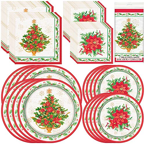 Unique Festive Poinsettia Christmas Tree Party Bundle | Red, White and Green Luncheon & Beverage Napkins, Dinner & Dessert Plates, Table Cover