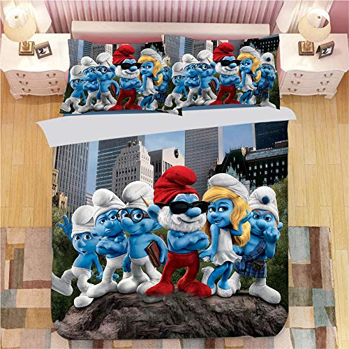 SK-LBB 3D Cartoon Bedding Set, The Smurfs Duvet Cover Set, Polyester Fiber Duvet Cover and Pillowcase Are Suitable for Boys and Girls/kids Bedroom Decoration 3-piece Set (01,King 220X240CM)