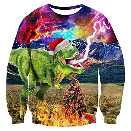 uideazone Teenager Ugly Christmas Sweatshirts Printed Galaxy Dinosaur Graphic Long Sleeve Shirt Dinosaur-2 Asia L= US M