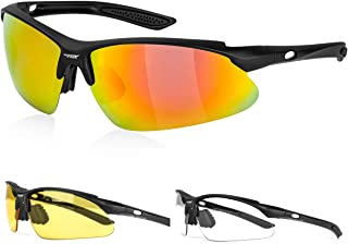 BATFOX Polarized Sports Sunglasses with Interchangeable Lenses,Comfortable Silicone Leg,TR90 Unbreakable Superlight Frame with Myopia Frame,for Running Cycling Baseball Fishing Driving Men Women Youth