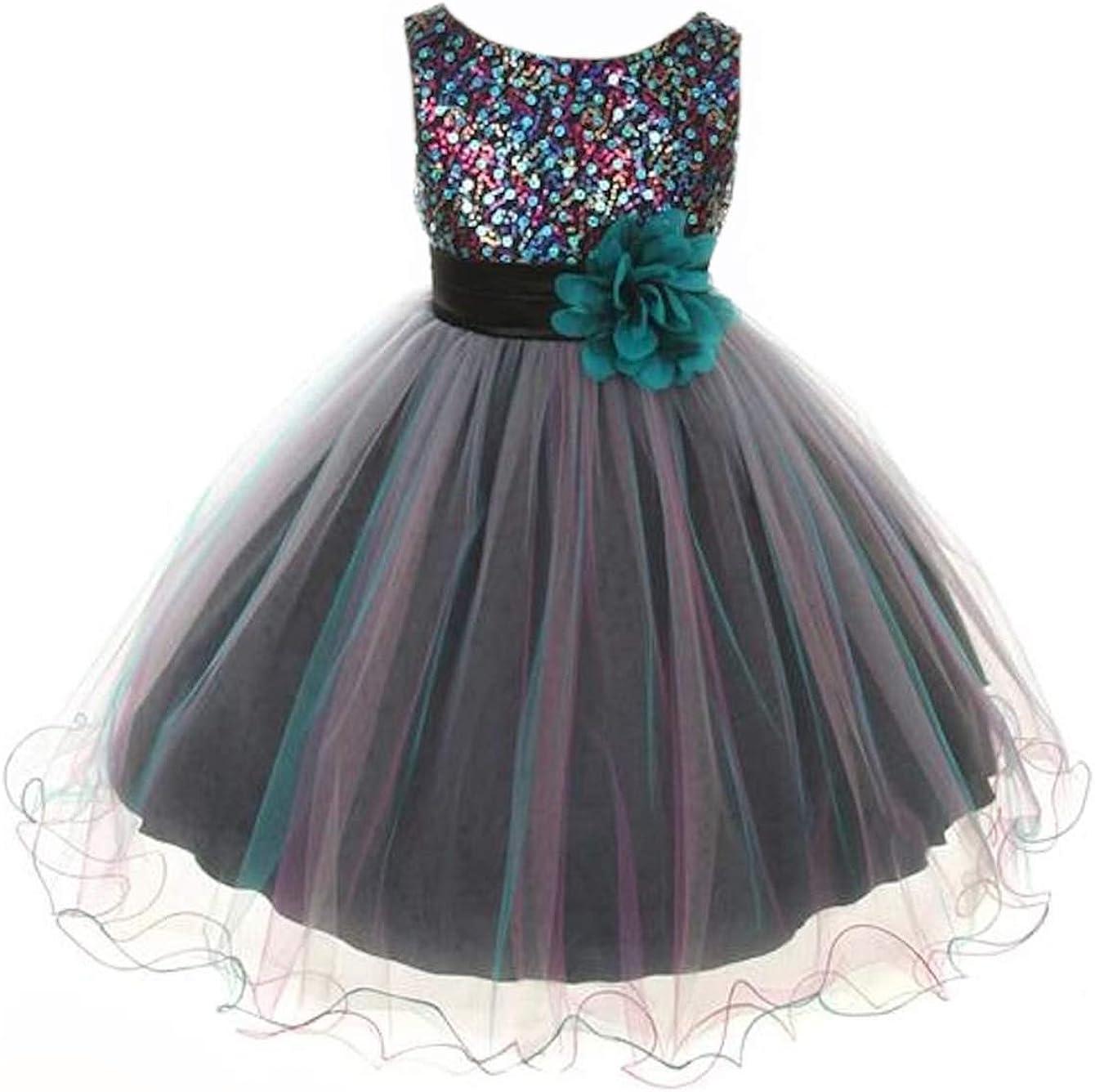 Kid's Dream Multi-Sequin Trio Color Tulle Flower Girl Dress