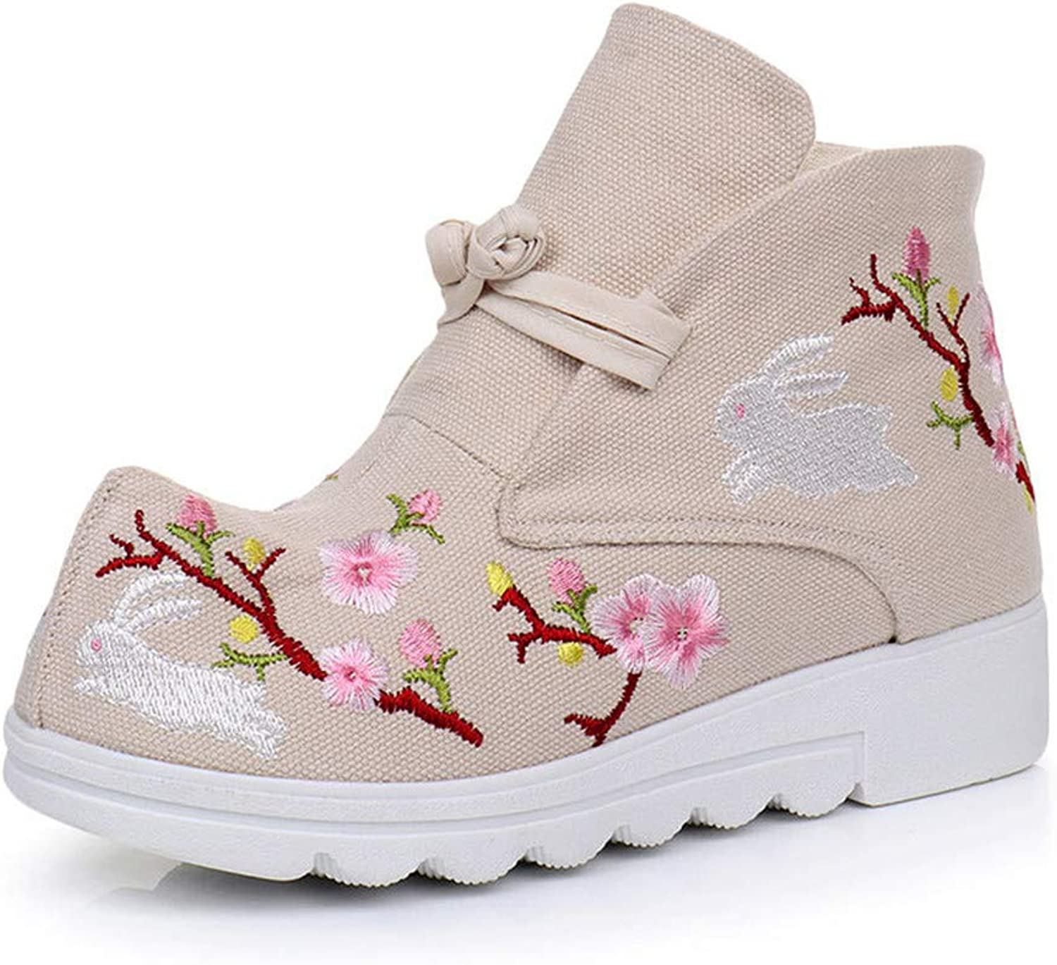 MFairy Women's Embroidery Floral Round Toe Platform Ankle Boots Casual Lace up Canvas shoes