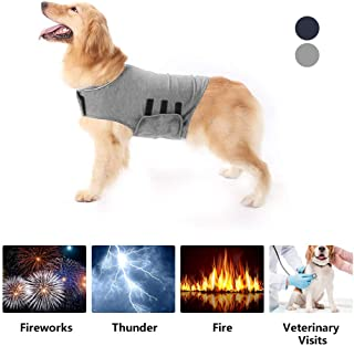 XLSFPY Dog Anxiety Jacket, Stress Relief Calming Coat for Small Medium and Large Dogs, Calming Solution Vest for Fireworks, Travel and Separation, Blue,Grey