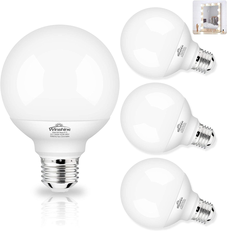 Ideal for Makeup Mirror Bathroom Bedroom,Dressing Room NO-Dimmable 4 Pack G25 LED Globe Light Bulbs for Bathroom,Winshine 60 watt Equivalent Vanity Light Bulbs E26 Base 2700K Warm White CRI85
