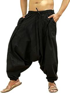 Pantalón bombacho hindú de algodón, pantalón harem, pantalón de yoga para hombre Negro Negro ( Talla única