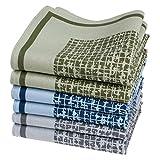 Merrysquare - Fazzoletti da Uomo in Tessuto Stampato - Taglia Grande 40cm x 40cm - 6 pezzi - 100% cotone (Caranga)