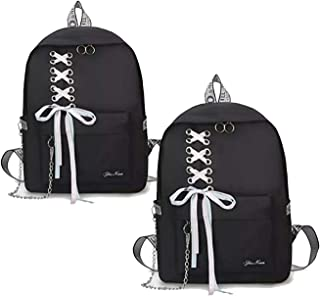 LEMONN Preppy Style Fashion Waterproof Women Girls Backpack Korean Design Drawstring Chain travel College Office Bag Lapto...