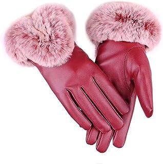Leorealko Ladies Gloves Touchscreen Sheepskin Gloves Womens Women Touchscreen Gloves Winter Warm Faux Fur Leather Full Finger Mittens