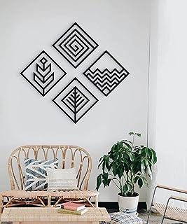 300Sparkles 4 Square Shape Frame 4 Pcs. Set,Home Bedroom Living Area Office Cafe Wall Art Decor/ Hanging-Black