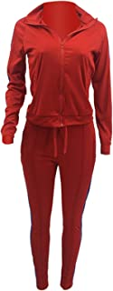 Womens Tracksuit Set, Casual Solid Color 2 Piece Outfits Set, Zipper Jacket Bodycon Pants Clubwear Tracksuit Sportswear Sw...