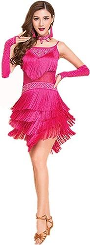H&Q Nouvelle Danse Latine Robe Femme Adulte Pratique vêteHommests vêteHommests Perforhommece vêteHommests Chaud Forage Gland Jupe Robe de Danse Latine, Cadeau Accessoires