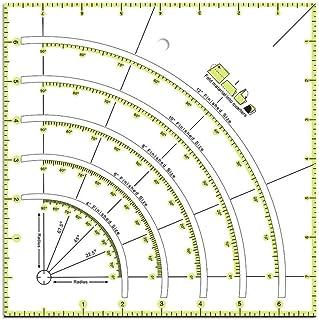 Regla de cortador de círculo de edredón de arcos y ventiladores, regla de patchwork de corte de arco multifuncional, regla de quilters de acrílico de bricolaje con líneas de doble color para un corte