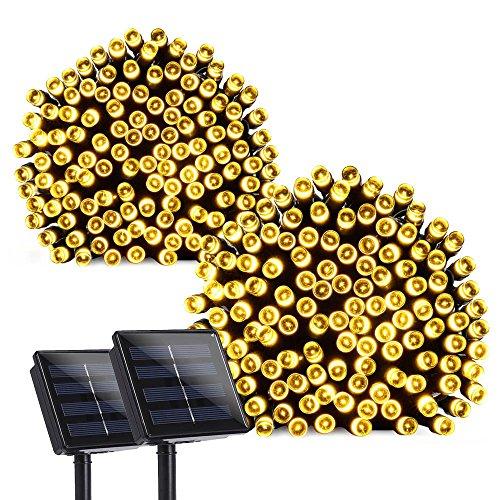 Qedertek 2 Pack Solar Lights Outdoor, 72ft 200 LED Solar String Lights 8 Modes Solar Lights Waterproof Decorative Lights String for Home, Patio, Lawn, Garden, Wedding, Party Decorations(Warm White)