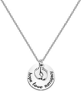 بوبونا سورجيسي قلادة الحب الأمل جراحية مع قلادة بيبي فوت قلادة الحمل المجوهرات هدية تقدير للميلاد Surrogate الأم