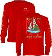 Simply Southern Nauti or Nice Sailboat Long Sleeve Christmas T-Shirt Red