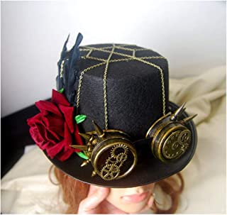 SHENTIANWEI Women Black Steampunk Top Hat with Gear Glasses and Rose Performance Hat Metal Gear Hat Size 57CM