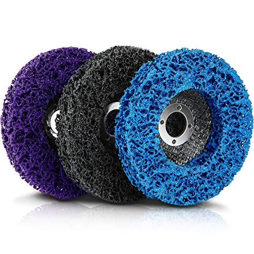 Paint Stripping Disc Wheel 3 Pieces Rust Stripper Strip Discs for 4 x 5/8 Inch Angle Grinder for Wood Metal Fiberglass Products Removing Paint Coating Rust (Blue, Black, Purple)