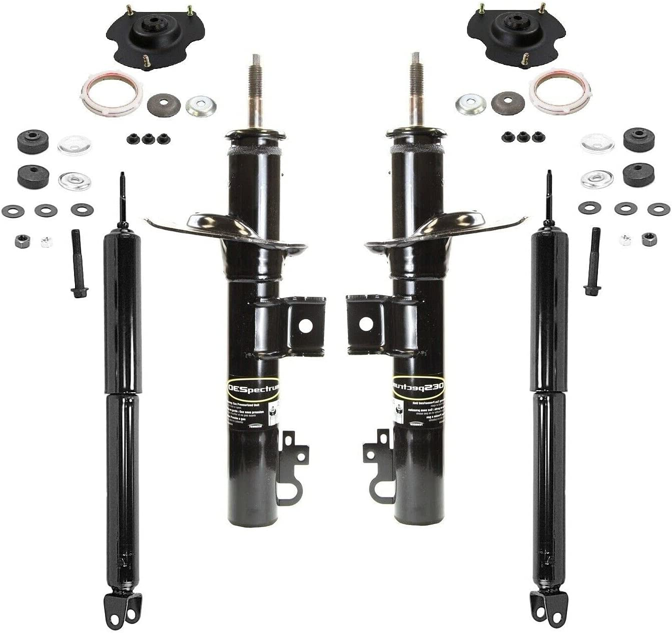 Chicago Mall Front Rear Struts Max 58% OFF Shocks Mounts with kit Compatible Tau Ford