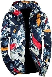 HX fashion Cappotto Da Uomo Cappotti Camouflage Paint Dot Con Cappuccio Taglie Comode Cerniera Cappotto Corto Cappotto Car...