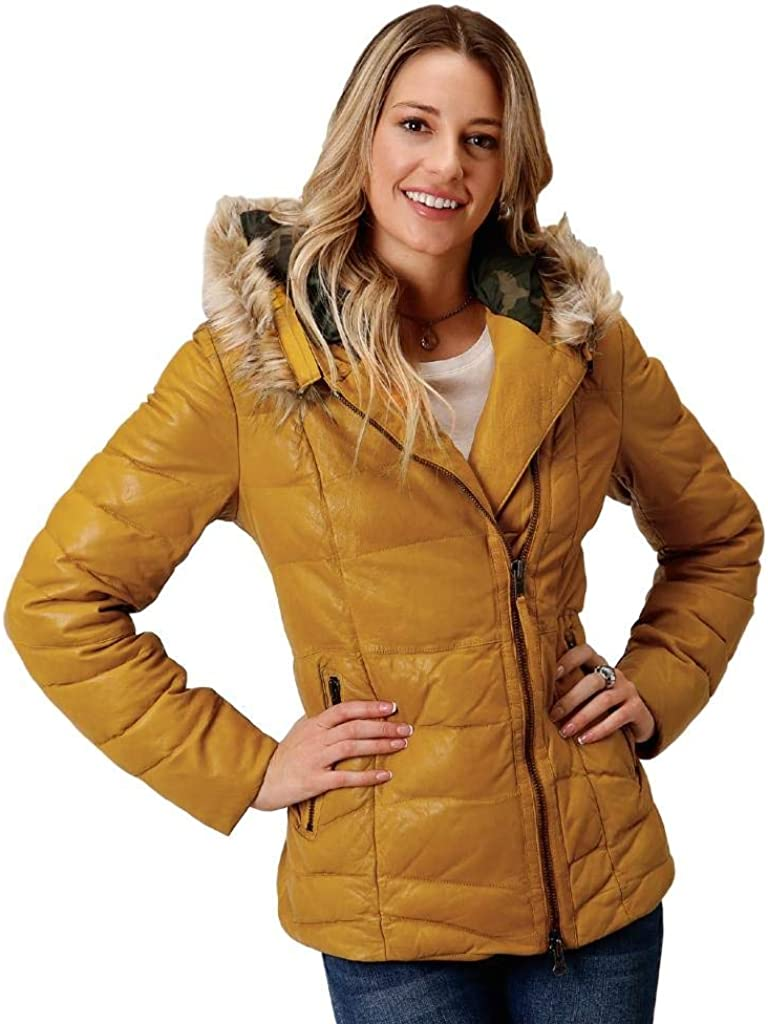 Stetson Womens Yellow Leather Quilted Hooded Jacket S