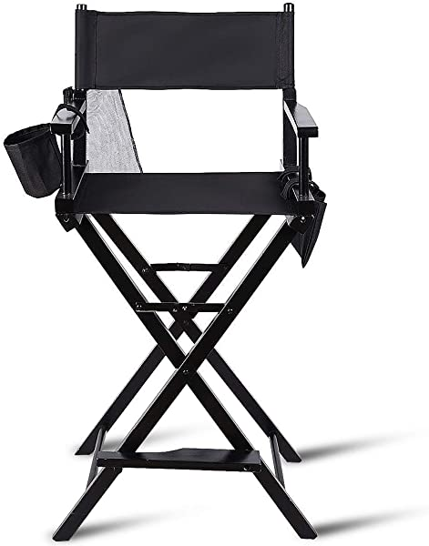 TanTan Directors Chair 30 Height Lightweight Foldable Portable Black Wood Frame With Storage Bag Footrest Home Commercial Makeup Artist Chair Black