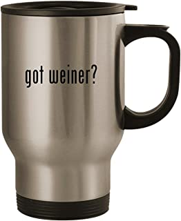 got weiner? - Stainless Steel 14oz Road Ready Travel Mug, Silver