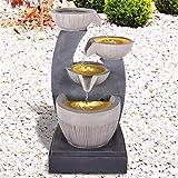 Gartenbrunnen Brunnen Zierbrunnen Zimmerbrunnen Springbrunnen Brunnen mit LED-Licht 230V Wasserfall Wasserspiel für Garten, Gartenteich, Terrasse, Balkon Sehr Dekorativ (FENG SHUI mit LED-Licht)