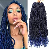 24 Inch 7 Packs Nu Faux Locs Crochet Hair 21 Strands Pre-Looped Synthetic Crochet Twist Braiding Hair Soft Goddess Locs Curly Wavy Crochet Braids Hair for Women (24 Inch, T1B/Blue)