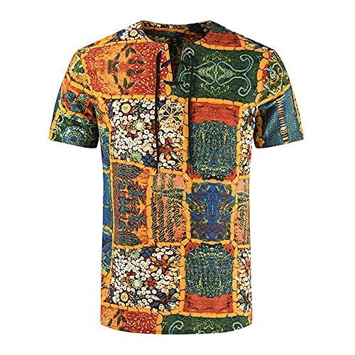 Shirt Ocio Hombre Manga Corta con Cordones Verano Hombre Shirt Moderna Slim Fit Estampado Moda Vintage Hombre T-Shirt Transpirable Clásico Hombre Ropa De Calle YC03 M