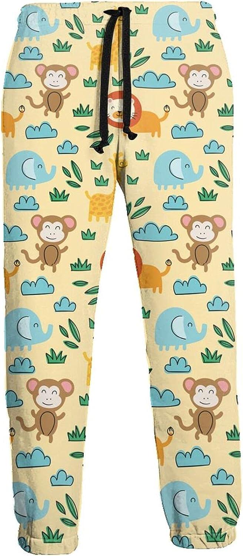 Men's Jogger Sweatpants Lion Monkey Elephant Cartoon 3D Loose Joggers Pants with Drawstring Long Pants