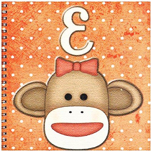 3dRose db_102808_1 süßes Socken AFFE Mädchen Initiale Buchstabe E Zeichenbuch, 20,3 x 20,3 cm