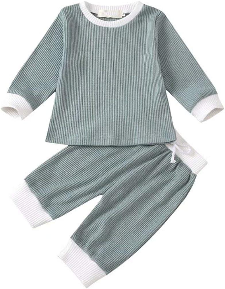Tiepant Baby Unisex 2 Pieces Long Sleeve Pants Clothes Set Tracksuit Outfits 0-3T