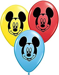 "Qualatex 45336 Mickey Mouse Face Latex Balloons, 5"", Multicolor, Pack of 100"