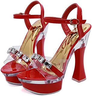 Women's AnkleStrap OpenToe Sandals,Summer Chunky Heel Rhinestones Sandals,Buckle PlatformSandals for Wedding