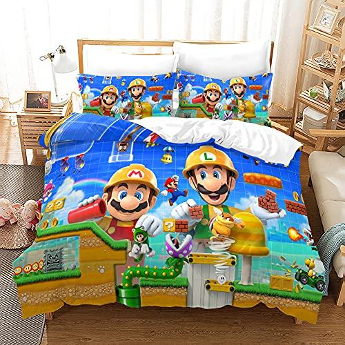 Agmdno Ropa de cama infantil Super Mario Bros, juego de ropa de cama, microfibra, 135 x 200 cm + funda de almohada 75 x 50 cm, 2 piezas (18,140 x 210 cm)
