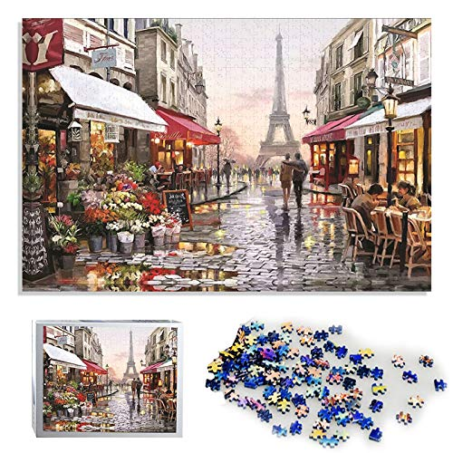 NOL Puzzle 3D 1000 Piece Wooden Jigsaw Puzzles Classic Rompecabezas de Juguete | Pintura al óleo de DIY Hecho a Mano(Paris Flower Street)