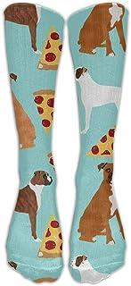 Daisylove, Boxer Dog PizzaKnee Calcetines de compresión graduados para mujeres y hombres, los mejores médicos, enfermería, viajes y vuelo – Running & Fitness