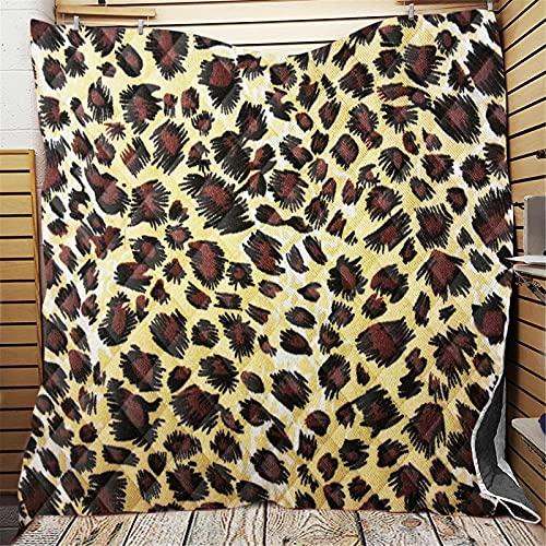 Chickwin Colcha Acolchada Verano, Patrón de Leopardo 3D Impresión Colchas Cubrecama Microfibra Suave Colcha Ligero Manta para Cama Individual Matrimonio o Infantil (Style 6,200x230cm)