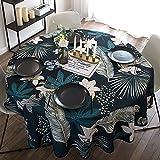 Wddwymll Mantel Antimanchas Redondo,Impermeables Lavable Mantel,Mantel con Efecto Loto,para Cocina, Comedor, Exterior