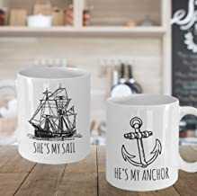 He39;s My Anchor, She39;s My Sail, Nautical Wedding Gift, Couples Mug Set, Beach Wedding, Engagement, Anniversary Gift, His and Hers, Mr and Mrs