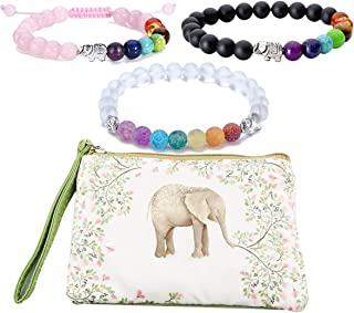 3 Strings Seven Chakra Bead Bracelet Elephant Gifts Distance Couples Bracelets Lava Rock Stone Healing Crystals Yoga Anxiety Bracelets with Elephant Zipper Bag for Women Men