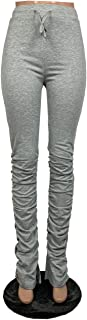 Women Stacked Leggings Trousers Ruched Drawstring Athletic Yoga Pants High-Waist Pleated Sweatpants