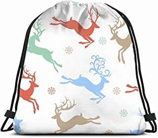 vintage christmas colors reindeer animals wildlife animal Drawstring Backpack Gym Sack Lightweight Bag Water Resistant Gym Backpack for Women&Men for Sports,Travelling,Hiking,Camping,Shopping Yoga