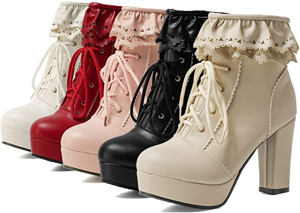 Vimisaoi Platform New mail order Boots for Women Cute Zip Chunk Lolita Store Up Lace