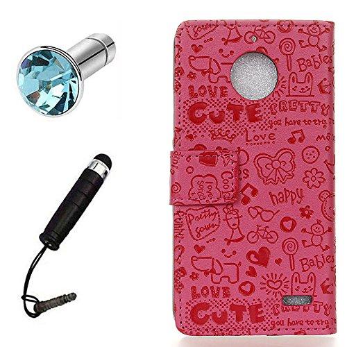 Lusee® PU Custodia Borsa Finta Pelle per Motorola Moto E4 XT1762 con Custodia in Silicone Copertura + Spina della Polvere e Penna Tocco Piccola Strega Rosa Rossa