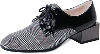 Judy Bacon Women's Square Toe Oxford Loafer Shoes Plaid Partten Chunky Mid Heel Lace Up Dress Oxfords Pumps Shoe