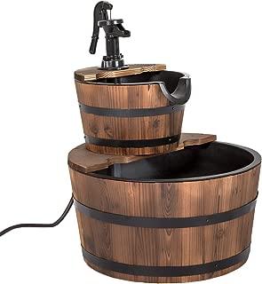 Peach Tree 2 Tier Wooden Water Fountain Garden Yard Decor Rustic Wood Waterfall Fountain with Pump w/Wood Barrel